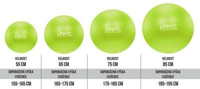 Gymnastický míč LIFEFIT ANTI-BURST 75 cm, zelený, 75 cm, zelená - 2
