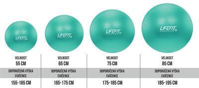 Gymnastický míč LIFEFIT ANTI-BURST 55 cm, tyrkysová - 2